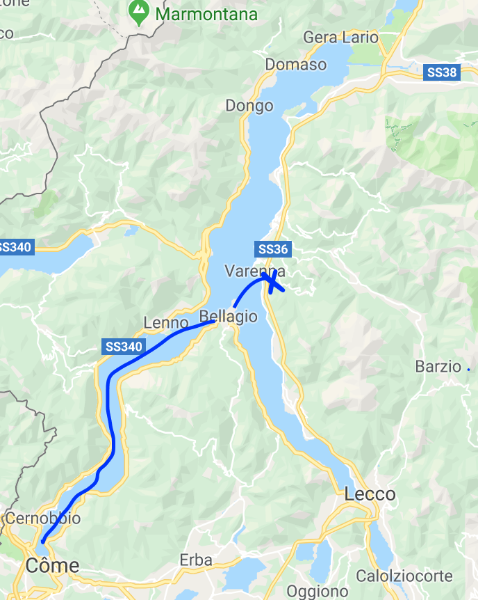 itinéraire une journée au lac de Côme