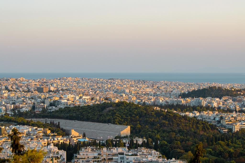 Visite d'Athènes : vue au coucher du soleil