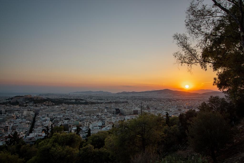 Visite Athènes : Colline Likabette coucher soleil