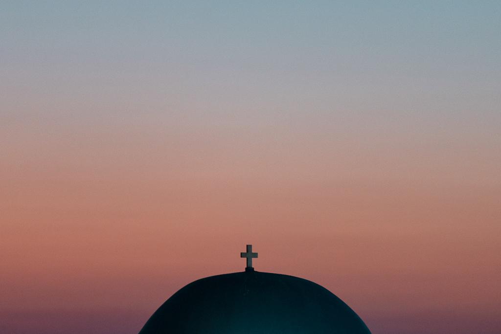 Coucher de soleil église Paros
